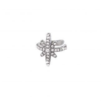 Ear Cuff - Silverfärgad stjärna med stenar