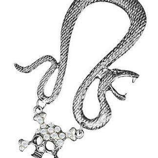 Ear Cuff med Orm och Hängande Dödskalle - Silver