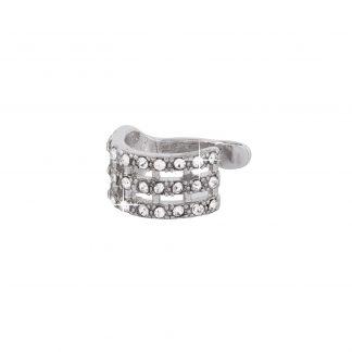 Ear Cuff - silverfärgad med tre rader glitter.