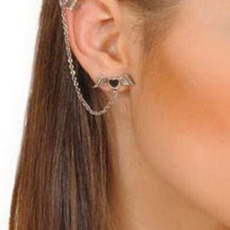 Svart Hjärta med Vingar - Ear Cuff med Örhänge